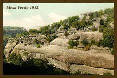 Mesa Verde National Park  - 1915 Postcard.  Printed on cotton.  Ready to sew. Single 4x6 block $4.95. Set of 4 - 4x6 blocks with a free wall hanging pattern $17.95