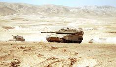 Two Merkava Mk 4 main battle tanks