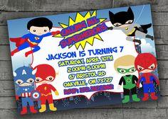 Superhero Party Invitation Kids Birthday by PartyPrintableInvite Superhero Party Invitations, Printable Invitations, Party Printables, Birthday Party Invitations, Birthday Parties, Anniversary Parties, Birthday Celebrations
