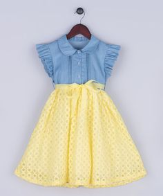 Loving this Blue & Yellow Chambray & Lace Dress - Girls on #zulily! #zulilyfinds