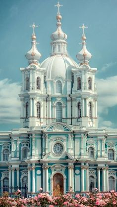 The Smolny Cathedral in St. Petersburg, Russia. One of the most beautiful churches in the country.