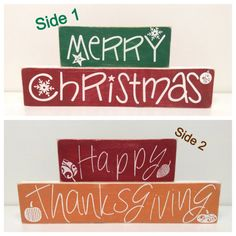 Reversible - Christmas & Thanksgiving - wooden signs on Etsy, $28.00