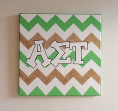 hand painted Alpha Sigma Tau letters outline with chevron background 12x12 canvas OFFICIAL LICENSED PRODUCT