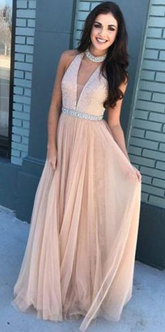 Pink Beaded Bodice High Neck Long Tulle Prom Dresses,A-Line Long Evening Dresses #pink #aline #beading #long #prom #okdresses