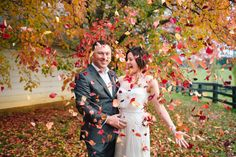 Autumn Wedding - who needs confetti when you have red leaves? Photos by Hilary Cam Photography  #Bendooley Estate #Berrima #Southern Highlands