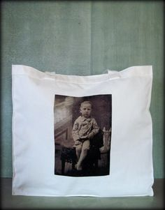 Tintype Tote  Barefoot Blonde Boy by ScarlettSlipper on Etsy