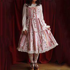 Lolita Fashion Cotton  Lovely Strawberry Pattern Flower Prints with Bows Sweet Lolita Dress #lolita #lovejoynet