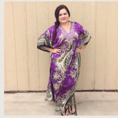 LISTING Purple Exotic Beaded Kaftan The details in this piece are absolutely beautiful and it has a drawstring around the middle for perfect fitting. Has a silk like feel to it. 54 inches long 36 inches PTP. 100% poly. Where was some jeweled sandals. Model says will fit up to a 3X. Neelam Dresses Maxi