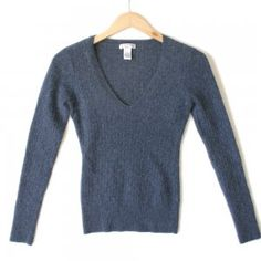 Anthropologie Aphorism Hairy Soft Angora Blend Fitted V-Neck Sweater Women's Size Large (L) $25