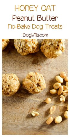 Honey Oat Peanut Butter Dog Treat Recipe, No Oven Required Ready for a great no-bake hypoallergenic dog treat recipe? Whip up a batch of our honey oat peanut butter balls for your pooch today! No Bake Dog Treats, Peanut Butter Dog Treats, Peanut Butter No Bake, Diy Dog Treats, Healthy Dog Treats, Puppy Treats, Dog Biscuit Recipes, Dog Treat Recipes, Dog Food Recipes