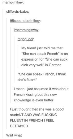 """I thought it was like she cursed a lot like """" excuse my French """""""