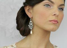 Gold Chandelier Bridal Earrings Vintage by LavenderByJurgita