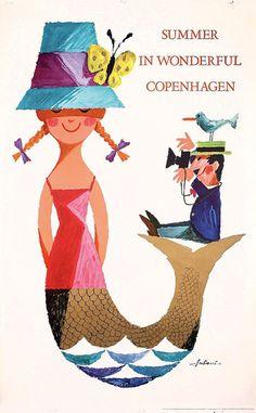 Vintage Copenhagen Mermaid Bird Poster Square Sticker x Vintage Copenhagen Mermaid Square Sticker x by rebeccakorpita - CafePress Vintage Travel Posters, Vintage Ads, Illustrations, Illustration Art, Mermaid Illustration, Mermaid Poster, Mermaid Art, Retro Poster, Kunst Poster
