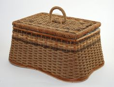 Vintage Wicker Sewing Basket Tufted Turquoise Satin by MysticLily,