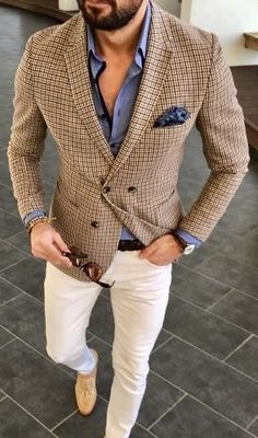 Men's suit fashion Suit jackets are for your all formal look. Here is how you can make your formal … Wedding Suit Styles, Wedding Suits, White Casual, Men Casual, Smart Casual, Mode Man, Look Blazer, Check Blazer, Herren Outfit