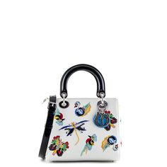 Dior White Embroidered Calfskin Medium Limited Edition Lady Dior - $5000 CAD