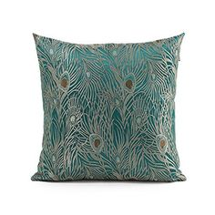 OJIA 24 X 24 Inch Elegant Peacock Design on Both Sides Decorative Throw Pillow Cover Cushion Case (Sapphire Blue), http://www.amazon.com/dp/B00M1LMEBE/ref=cm_sw_r_pi_awdm_kqYsub09SS7XW