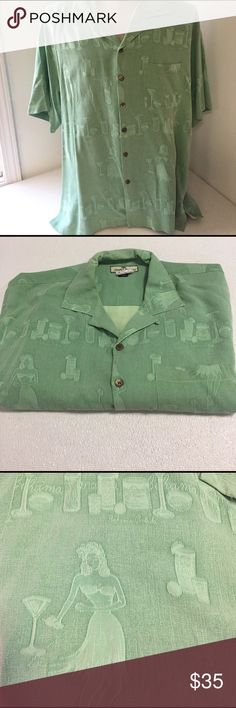 "Tommy Bahama hula dancers drinks Shirt Large Great looking shirt from Tommy Bahama in size large   Green   100% silk   Machine washable, but shirt has been dry cleaned   Tropical drink and hula dancer pattern   Chest- 25.5"" laid flat to measure Length- 30""   Excellent condition Tommy Bahama Shirts Casual Button Down Shirts"