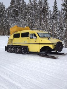 In Yellowstone National Park, the WME film crew rides in style on this yellow snowbus.