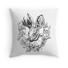 'The Majestic Jackalope' Throw Pillow by bonnfire Framed Prints, Canvas Prints, Art Prints, Floor Pillows, Throw Pillows, Black And White Pillows, Duvet Covers, Vibrant, Design
