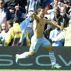 Sergio Aguero at COMS after scoring last minute goal to with the league for Manchester City