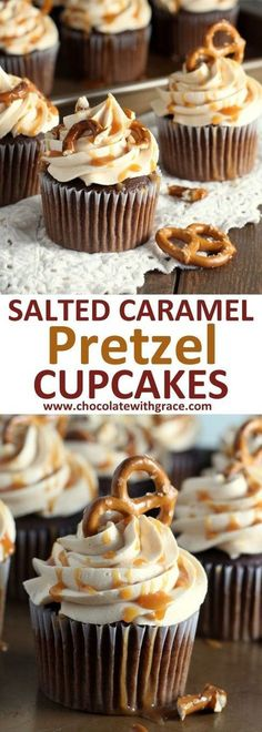 Oh. My. Gosh. I need these Salted Caramel Pretzel Cupcakes - Chocolate Cupcakes in my life.