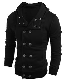 Turn-Down Collar Double-Breasted Long Sleeve Thicken Men's Jacket