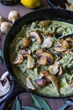 Tagliatelle Pasta with Sunchokes, Mushrooms and Creamy Vegan Artichoke Sage Sauce ( aka Magic sauce) | www.feastingathome.com