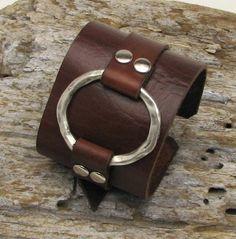 FREE SHIPPING  Hand made leather bracelet with by eliziatelye, $34.00