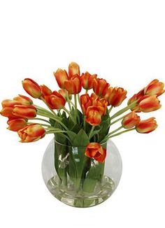 Orange silk mini Tulips in acryllic water that is set inside a fish bowl tall). Gift Delivery, Silk Flowers, Tulips, Planting Flowers, Glass Vase, Orange, Mini, Cape, Plants