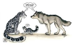 Yes that is a snow leopard and a wolf. Olf Snow leopard Wolf mixed breeding genetics are messed up Anime Wolf, Anime Furry, Anime Animals, Funny Animals, Cute Animals, Fantasy Creatures, Mythical Creatures, Animal Drawings, Cute Drawings