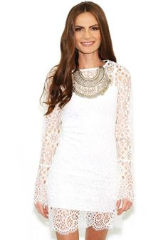 White Plain Hollow-out Lace Sexy Dress