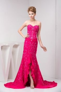 Hanmade Sequins Mermaid Sweetheart Fuschia Long Prom Dresses £126