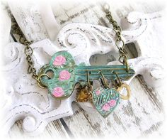 Vintage Key Charm Necklace Mother Hearts Shabby by TheVintageHeart