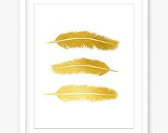 Feather print - printable gold wall decor - printable feather art - gold nursery art - gold feather wall art - tribal art - DIGITAL DOWNLOAD