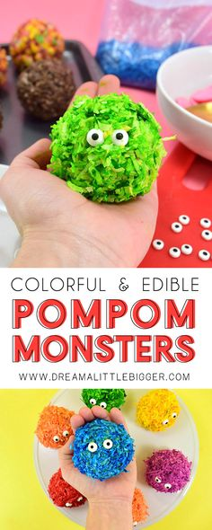 Low Unwanted Fat Cooking For Weightloss These Little Edible Pom Monsters Are Beyond Cute And Great For A Sweet Little Treat Any Time Of The Year Step By Step Tutorial Included. Looks Simple Enough Soap Recipes, Dessert Recipes, Cookie Recipes, Desserts, Dinner Recipes, Craft Activities For Kids, Crafts For Kids, Fun Crafts, Halloween Food For Party