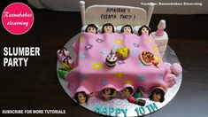 slumber pajama sleepover party cake design ideas decorating tutorial video courses classes at home 10th Birthday Cakes For Girls, Happy Bday Cake, Frozen Birthday Cake, Homemade Birthday Cakes, First Birthday Cakes, Cake Designs For Girl, Simple Cake Designs, Cake Decorating Classes, Easy Cake Decorating