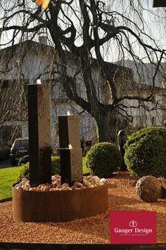 Cortenstahl Gartenbrunnen-Referenzen Diy Garden Fountains, Designer, Plants, Water Images, Wall Fountains, Corten Steel, Water Games, Stones, Ideas