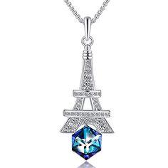 Exquisite Topaze Bleue Cristal Strass 18K or blanc rempli collier tour de cou
