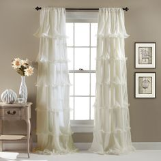 Lush Decor Nerina Ruffled Curtain Panel (Ivory), Beige Off-White, Size 54 x 84 (Polyester, Abstract)
