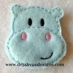 Helen the Hippo Feltie Embroidery Design