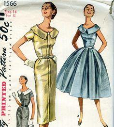 50s 60s Pattern Vintage Full Skirt or Pencil Skirt by voguevintage, $14.00