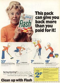 Flash adverts featuring Molly Weir (this one from I remember her doing these ads 1970s Childhood, My Childhood Memories, Best Memories, Retro Ads, Vintage Advertisements, Vintage Ads, 80s Ads, Tv Adverts, Teenage Years