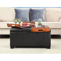 Convenience Concepts Designs4Comfort Storage Ottoman with Trays