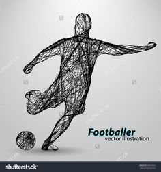 Silhouette Of A Football Player From Wires. Text And Background On A Separate Layer, Color Can Be Changed In One Click Vektorová ilustrace 428916592 : Shutterstock