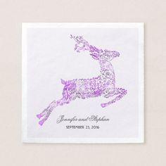 Deer Purple Woodland Wedding Napkin