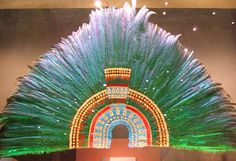 Replica of Moctezuma II's famous headdress in the National Museum of Anthropology, Mexico City - said to contain some 500 quetzal and blue cotinga feathers!