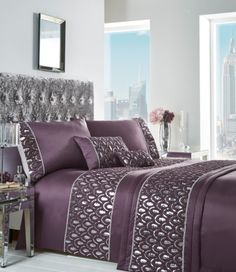Add glamour to your bedroom with this gorgeous grey bedding set, comprising of duvet cover and accessories. Sequins on a lovely purple fabric for a beautiful bed set. King Duvet Cover Sets, Single Duvet Cover, Duvet Sets, Purple Duvet, Grey Duvet, Boudoir, Velvet Duvet, King Size Duvet, Quilt Bedding