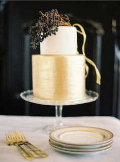 Well this would be a beautifully elegant wedding cake. Gold, berries, white. Photo by jose villa.