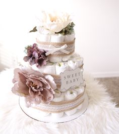 Lavender Ivory Diaper Cake / Baby Shower Centerpiece / Flower Elegant / Lacey Burlap / tulle / decoration / gender natural / Hospital gifts by AngAngBabyUS on Etsy